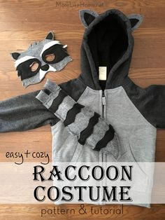 Free pattern to make a DIY raccoon costume from a hoodie! It's easy and plenty cozy for trick or treating.