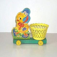 Vintage Fisher Price 304 Chick Basket Easter Toy from 1960-1965.