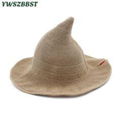 New Summer Women Cappelli da sole Fashion Steeple Cappello da strega Cappello  da donna Cappuccio ampio Tesa larga anti-UV Cappello da sole Cappello da ... 5cebe7b444ac