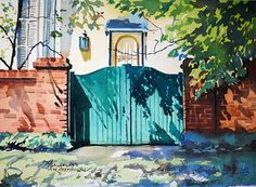 Spencer Meagher - Green Gate Shadows - plein air watercolor New Harmony, IN