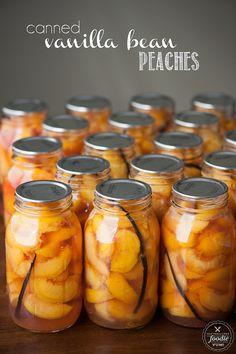 Canned Vanilla Bean Peaches. Every summer I make enough low sugar organic Canned Vanilla Bean Peaches to last all year. Everyone loves them & they make great DIY gifts. Low Sugar Recipes, No Sugar Foods, Fruit Recipes, Summer Recipes, Spiced Peaches, Canning Peaches, Preserving Peaches, Canning Recipes, Jar Recipes