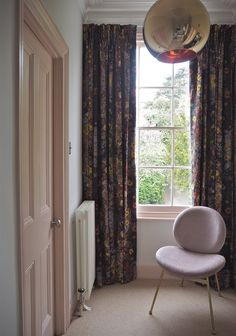 Painted pink window with floral curtains in Earthed Fabrics 'Wild Grasses'. Hallway Paint, Make A Door, Picture Shelves, Paint Brands, Floral Curtains, Internal Doors, Girls Bedroom, New Homes, Flooring