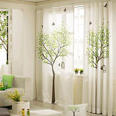 Two Panels Curtains with Trees | Drapes vs Curtains Blog