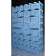 Used metal basket lockers for sale that are in great condition! Each has vented front and back panels, small hole perforated bottoms and large hole perforated sides, providing plenty of ventilation for swim clothes and athletic gear to dry out while being stowed away. Perfect for fitness centers, locker rooms or at home in your personal gym or pool house!
