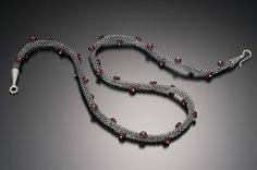 Grey and red bead crochet necklace