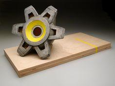 "Peter Christian Johnson,225A121 OSHA Yellow, 2012, ceramic, maple, stain, paint, 36"" x 18"" x 18"""
