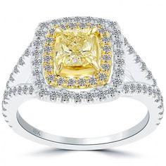 1.87 Carat Fancy Yellow Radiant Cut Diamond Engagement Ring 18k Gold Pave Halo - Thumbnail 1