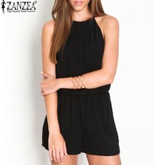 ZANZEA 2016 Summer Style Rompers Womens Jumpsuit Sexy Sleeveless Chiffon Playsuits Ladies Casual Solid Short Overalls Plus Size
