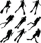 Set of vector silhouettes scuba diving in different poses. Scuba Diver Tattoo, Deep Photos, Japanese Tattoo Symbols, Scuba Diving Gear, Ocean Creatures, Free Vector Art, Silhouette Design, Compass Tattoo, Snorkeling