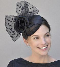 6b292952c8d Black Fascinator Ladies Black Hat Cocktail Hat Formal Hat Black Fascinator