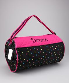This roomy duffel bag is perfect for stowing all the day's necessities for dance class or travel. A sassy print on durable microfiber makes it every dancer's delight. Its nifty luggage tag means that everyone in the studio will know who owns this versatile accessory.14'' W x 8'' HMicrofiberImported