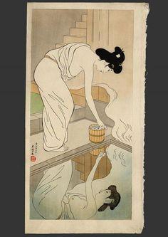 """Woman at a hot spring inn"", Hashiguchi Goyō (1880-1921) - ca.1929. [Source: Minneapolis Institute of Arts] via https://www.facebook.com/UkiyoESumiE"