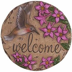 Cement Stepping Stone Plaque Hummingbird Welcome