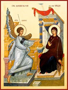 The Annunciation - by Marysia Kowalchyk Religious Icons, Religious Art, Angelus, Mama Mary, Byzantine Icons, Holy Mary, Art Thou, Madonna And Child, Traditional Paintings