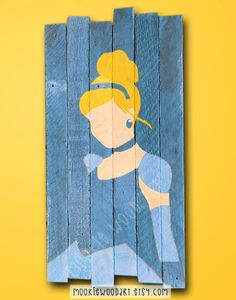 Cinderella painted wood sign / Disney / Princess / Girls Room Decor / Glass Slipper / Blue