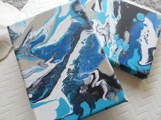 Organic Wave Black and Blue Swirl, Ocean Inspired High Flow, Abstract Fluid Acrylic Painting - 2 Original Mini Canvases