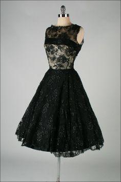 1stdibs | Vintage 1950's Harvey Berin Black Chantilly Lace Cocktail Dress
