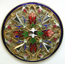 Antique French Enamel Button Colorful Filigree Floral w/ Cut Steel Accents Lg Sz