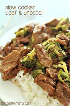 Slow Cooker Beef and Broccoli on SixSistersStuff.com