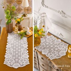 6 balls white Cordonetto cotton nr 16 and scheme on squared paper to realize the crochet filet runner and doily. Holiday Crochet Patterns, Crochet Doily Patterns, Crochet Art, Thread Crochet, Filet Crochet, Crochet Doilies, Crochet Table Runner, Chrochet, Hobbies And Crafts