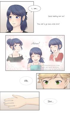 """She's Mine was my first """"long"""" fan comic for Miraculous and it was inspired by a chapter of Horimiya in which Miyamura and an underclassman fight over Hori, as well as a few posts… Meraculous Ladybug, Ladybug Comics, Ladybugs, Ladybug Cartoon, Miraculous Ladybug Kiss, Cute Kawaii Animals, Adrien Agreste, Disney Princess Pictures, Arte Disney"""