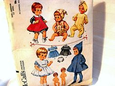 Vintage 1960s Baby Doll Clothes Pattern McCalls 12 inch Tiny Tears Dolls and other similar dolls by PatternsFromThePast