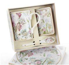 Gift Boxed Porcelain Mug Set - Pale Rose - Roses And Teacups