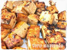 Tofu marinado con naranja y mostaza