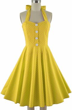 50s Style Miss Mabel YELLOW POLKA DOT Print Pinup HALTER Sun Dress w/BUTTONS #PrivateManufacturer #Sundress #Casual