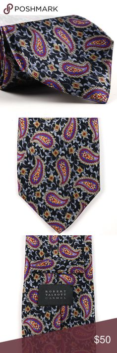 "Robert Talbott Carmel Satin Silk Necktie Paisley Men's Recent Robert Talbott Carmel Satin Silk Necktie Hand Sewn   Black w/Gray/Blue/Red Paisley Pattern  No Flaws - Recent Model  Width (in inches) 3 1/2""  Length (in inches) 59"" Robert Talbott Accessories Ties"