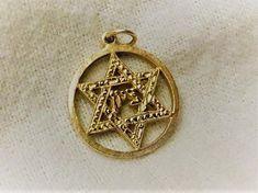 HEAVY Vintage Pendant  14K Yellow Gold Star  Of  David