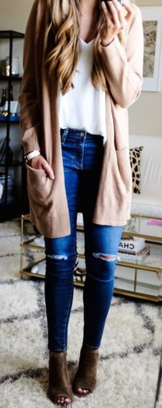 #winter #outfits  beige blazer, blue ripped jeans, white blose