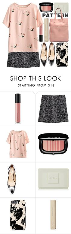 """""""come dive with me"""" by foundlostme ❤ liked on Polyvore featuring Bare Escentuals, Marc Jacobs, AERIN, Khristian Howell, Burberry, MINISKIRT and patternmixing"""