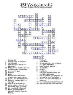 Spanish Avancemos 3 Vocab 8.2 Crossword