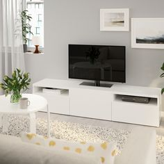 Ikea Tv Bank, Besta Tv Bank, Plastic Foil, Ikea Family, White Stain, Knobs And Handles, Steel Doors, Drawer Fronts, Interior Accessories