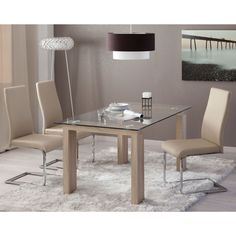 Crystal table with oak legs. Dinning Room Tables, Glass Dining Table, Dining Set, Wooden Door Design, Wooden Doors, Table Furniture, Sweet Home, Home Decor, Kitchens