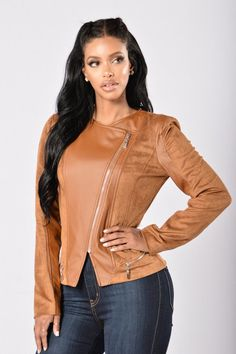 - Available in Black and Camel - Moto Jacket - Faux Leather and Suede - Long Sleeve - Mini Front Zipper Pockets - Collarless - Overlap Front Zipper Closure - 44% PU 28% Cotton 28% Polyester, Contrast: