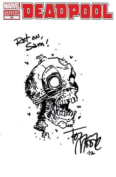 Deadpool sketch cover by Tony Moore Comic Art