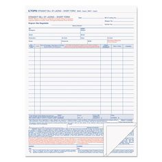 Bill Of Lading Short Form   X  FourPart Carbonless