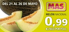 Ahora tenemos el melón nacional de oferta en nuestros Supermercados MAS. Hasta el 26 de Mayo de 2012.