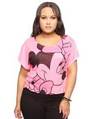 Forever 21+  - A knit tee featuring a flirty Minnie Mouse graphic across the front. Round neck. Short sleeves. Lightweight.    DETAILS:  - Officially licensed product  - 24' approx length from high point shoulder to hem, 46' chest, 46' waist, 6' sleeve length from shoulder ridge, 21.5' shoulder width  - Measured from 1X  - 100% polyester  - Machine wash, tumble dry  - Imported