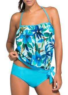 AdoreWe - unsigned Halter Neck Printed Top and Panty Swimwear - AdoreWe.com