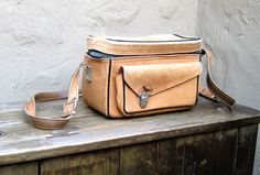 Vintage Distressed Tan Leather Camera Travel Bag by Perrin