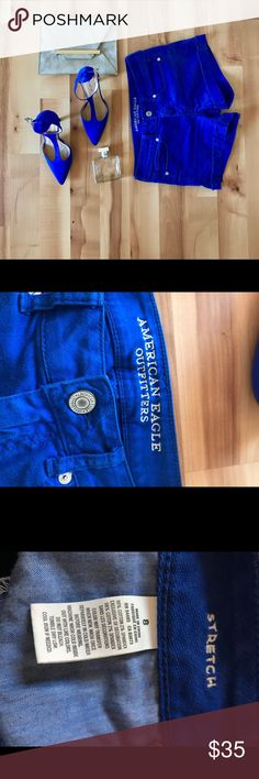 AEO Cobalt Blue Shorts perfect shorts! size 8. stretchy material American Eagle Outfitters Shorts