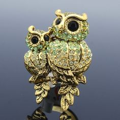 Green Animal Owl Baby Cocktail Ring Adjustable