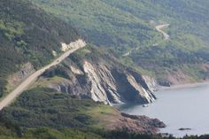 One of the most scenic drives anywhere!  The Cabot Trail in Cape Breton, Nova Scotia.  This is facing south toward the Acadian village of Cheticamp.