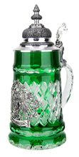 "This magnificent solid crystal beer stein has hand-cut diamond pattern facets and and a pewter German eagle crest medallion with a banner reading ""Deutschland"" on the front German Beer Steins, Beer 101, Beers Of The World, Homebrewing, Beer Mugs, Flasks, Diamond Pattern, Slytherin, Craft Beer"