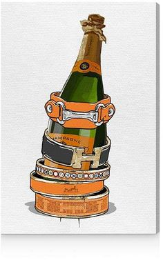 Oliver Gal Arm Candy Champagne Canvas Art, 30 x 45 Black And White Aesthetic, Pink Aesthetic, Veuve Cliquot, Hermes, Fashion Wall Art, Oliver Gal, New Wall, Canvas Art Prints, Art Inspo