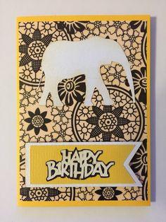 Yellow elephant card -  happy birthday