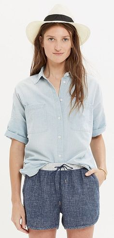 The Denim Every Woman Should Own: Chambray Shirt  No matter what you pair it with, a chambray shirt feels effortlessly cool. Add dress pants to make it office appropriate, or slide into a full skirt for the perfect Sunday brunch outfit.  Madewell Chambray Courier Shirt ($75)